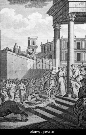 Saturninus, Bishop of Toulouse, fastened to the tail of a bull and dragged down the steps of the temple by which - Stock Image