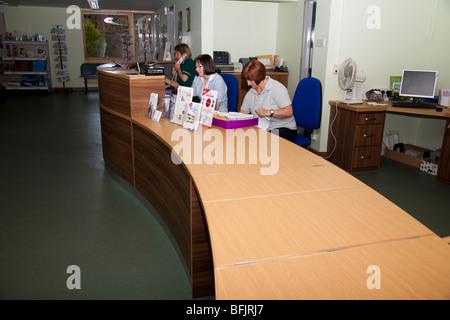 Reception Desk in a Veterinary Practice - Stock Image