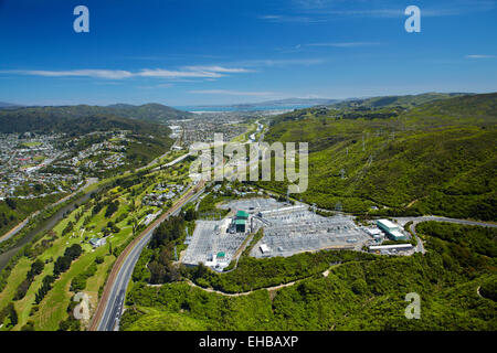 Hutt River, Manor Park Golf Course, and Haywards Substation, Lower Hutt, Wellington, North Island, New Zealand  - Stock Image