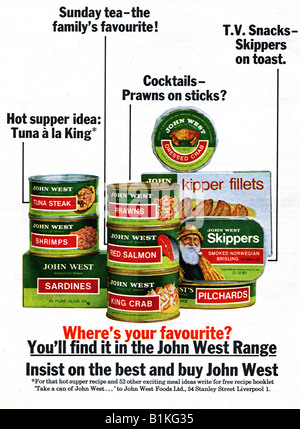 1965 Magazine Advertisement for John West Foods canned fish range FOR EDITORIAL USE ONLY - Stock Image