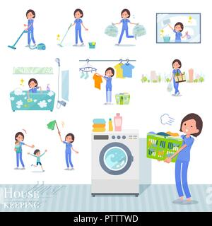 A set of Surgical Doctor women related to housekeeping such as cleaning and laundry.There are various actions such as child rearing.It's vector art so - Stock Image