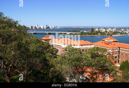 The historic Swan Brewery building on the banks of the Swan River at the base of Kings Park, Perth, Western Australia. - Stock Image