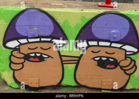 Buiksloterham, Amsterdam, Netherlands,  2018, Ferry Terminal , Graffiti Zone Detail. Two mushroom friends singing. - Stock Image