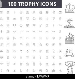 Trophy line icons, signs, vector set, outline illustration concept  - Stock Image
