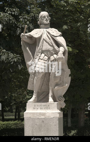 Statue of D Sancho in Ritero park in Madrid - Stock Image