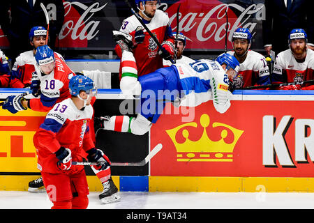 Bratislava, Slovakia. 17th May, 2019. From left ONDREJ PALAT, JAKUB VRANA of Czech Republic and DIEGO KOSTNER of Italy in action during the Ice Hockey World Championships group B match between Czech Republic and Italy in Bratislava, Slovakia, May 17, 2019. Credit: Vit Simanek/CTK Photo/Alamy Live News - Stock Image