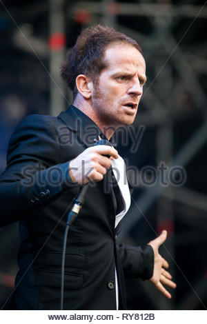 Mathias Malzieu, singer of French rock band Dionysos performing live - Stock Image
