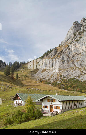 The Southern Ascent To The Benedict Wall Leads Past The Idyllic Scharnitzalm - Stock Image