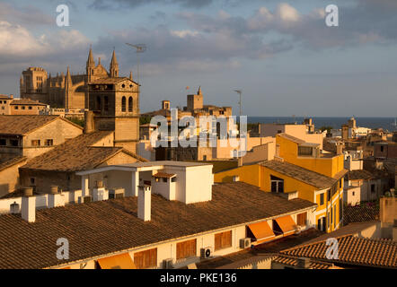 Palma, Majorca. City rooftops and cathedral in evening light. - Stock Image
