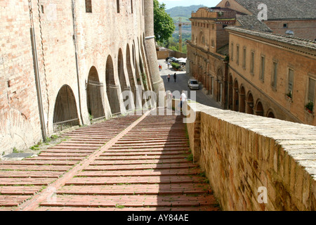 Steps leading to the much visited Ducal Palace in Urbino Le Marche The Marches Italy - Stock Image