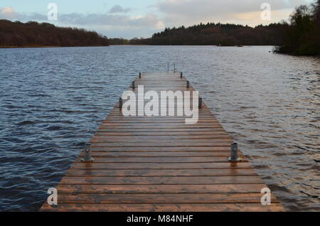 A pier into Lough Erne, Co Fermanagh - Stock Image