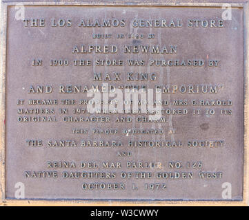 The plaque attached to the Los Alamos, California General Store that tells the story of this historic property that was recognized by the Santa Barbar - Stock Image