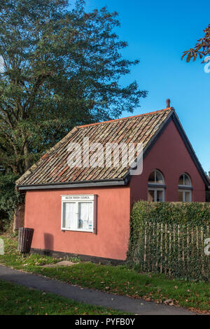 Parish notice board on small outhouse - Stock Image