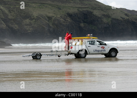Lifeguards at Perranporth Beach, North Cornwall Coast, Britain, UK. - Stock Image