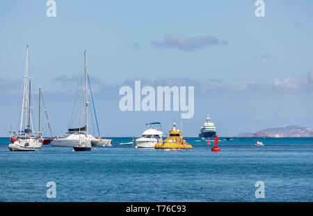numerous boats at moorings in the Port of Gustavia in St Barts - Stock Image