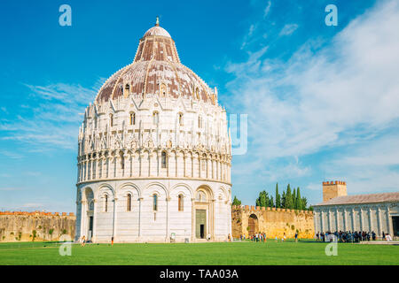 Pisa Baptistery of St. John and Piazza del Duomo in Italy - Stock Image