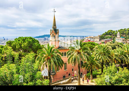 Park Guell, a garden with architectural elements designed by Antoni Gaudi. Built in 1900 - 1914 - Stock Image