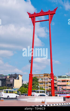 Sao Chingcha, the Great Swing, Bamrung Meuang Road, Phra Nakhon, Bangkok, Thailand - Stock Image