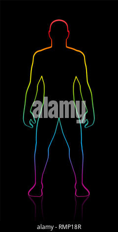 Male body shape of muscular, athletic, young man. Rainbow gradient colored silhouette. Outline illustration on black background. - Stock Image