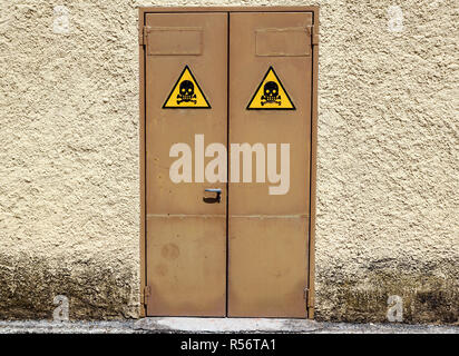 High voltage door . sign danger zone on electric cabin . - Stock Image