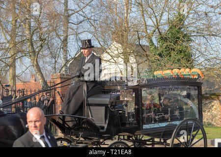 Braintree, Essex, UK. 29th Mar 2019.  Funeral of Prodigy frontman Keith Flint at St Mary's Church in Bocking attended by hundreds of his fans The horse drawn hearse containing Keith Flint body arrives Credit: Ian Davidson/Alamy Live News - Stock Image