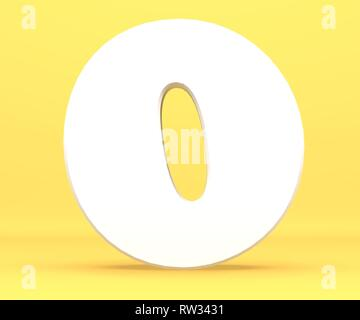 3d rendering illustration. White paper digit alphabet character 0 zero font. Front view number 0 symbol on a yellow background. - Stock Image
