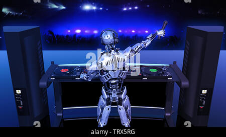 DJ Robot, disc jockey cyborg with microphone playing music on turntables, android on stage with deejay audio equipment, back view, 3D rendering - Stock Image