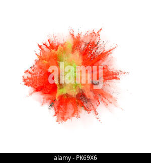 Explosion of coloured powder isolated on white background. Abstract colored background - Stock Image