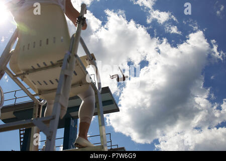 Bolzano, Italy. 07th, Jul 2018. Rogava Sandro from Russia competes in the Men's 10m Platform Diving Semi-Final on day two at Bolzano Lido, during 24th FINA Diving Grand Prix in Bolzano, Italy, 07 July 2018. (PHOTO) Alejandro Sala/Alamy Live News - Stock Image