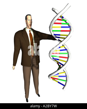 Businessman with DNA - Stock Image
