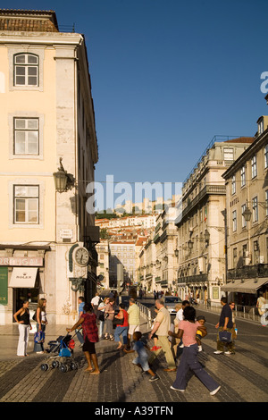 Portugal Lisbon Portugal Lisbon Baixa Chiado pedestrians castelo - Stock Image