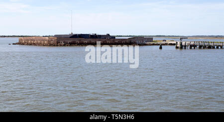 Fort Sumter National Monument near  Charleston, South Carolina, USA. The site is operated by the US National Park Service. - Stock Image