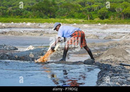 Salt Pans, Pan, Salt Miner, Ugandan Man, Crater Lake at Queen Elizabeth National Park, Uganda - Stock Image