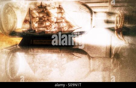 Tall Ship in a bottle. - Stock Image