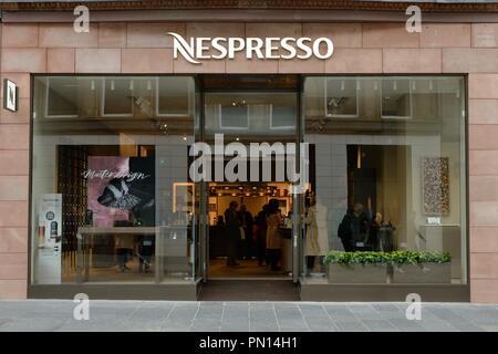 Nespresso premium coffee shop in Buchanan Street, Glasgow, Scotland, UK is an operating unit of the Nestlé Group - Stock Image