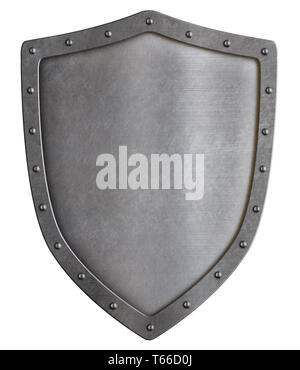 Classical metal shield isolated on white - Stock Image