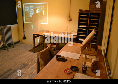 A room in Hut 6 at Bletchley Park where people worked to decipher German codes. Bletchley, Milton Keynes, Buckinghamshire, UK - Stock Image