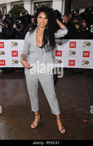 London, UK. 12th Mar, 2019. LONDON, UK. March 12, 2019: Vick Hope arriving for the TRIC Awards 2019 at the Grosvenor House Hotel, London. Picture: Steve Vas/Featureflash Credit: Paul Smith/Alamy Live News - Stock Image