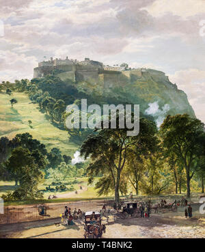 Samuel Bough, Edinburgh Castle from Princes Street, painting, c. late 1860s - Stock Image