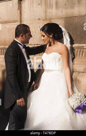 Armenia, Vagharshapat (Etchmiadzin),  Church of Saint Gayane, 7th c,  wedding couple - Stock Image