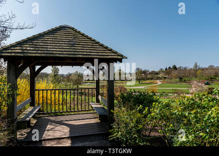 Royal Horticultural Society, Gazebo, Clover Hill. Peaceful resting place in RHS Hyde Hall, with spring sunshine. - Stock Image