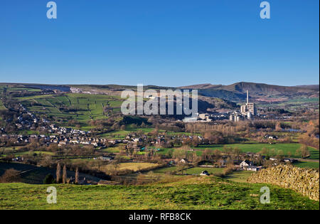 Village of Bradwell and Breedon Hope Cement Works. Peak District National Park, Derbyshire, England. - Stock Image