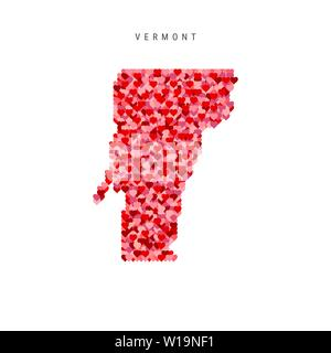I Love Vermont. Red Hearts Pattern Vector Map of Vermont - Stock Image