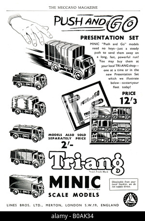 Advertisement for Tri-ang Minic Scale Models of Lorries October 1953 FOR EDITORIAL USE ONLY - Stock Image