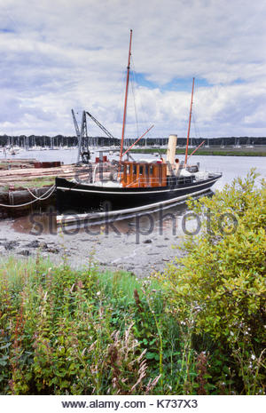 Steam yacht S.Y. Carola moored at Buckler's Hard, on the River Lymington in Hampshire, UK – 1990 - Stock Image