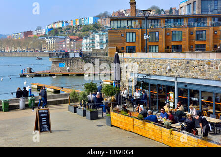 Bristol Harbourside with restaurant, docks, housing, and public open spaces - Stock Image