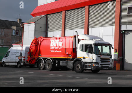 A Biffa bin lorry outside the Comely Bank branch of Waitrose in Edinburgh, Scotland - Stock Image