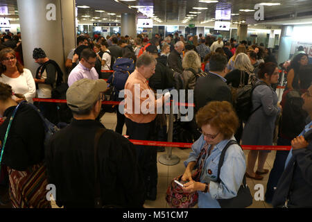 traveler Lines at customs airport San Jose Costa Rica - Stock Image