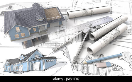 Blue House with Light from windows. , drawings and sketches. Rolls, Ruler, Pencil, Eraser and Divider of metal. - Stock Image