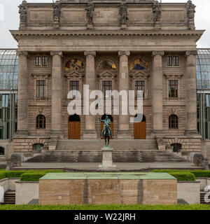 Munich, Bavaria, Germany - May 29, 2019. Bavarian State Chancellery, central lower portion showing detail, on a partly cloudy day - Stock Image